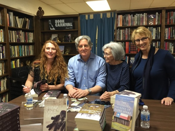 At Carnivale of Books, Orange, CA, with Jennifer Kincheloe, Anne Saller, and Terry Shames.