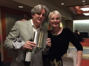 "Left Coast Crime 2016. With Catriona McPherson and the ""Ellie Stone"" flask"